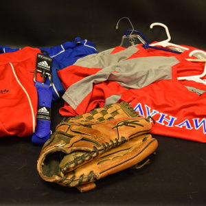5 Baseball Jerseys 2 Pants 1 Glove 1 Belt JAYHAWKS
